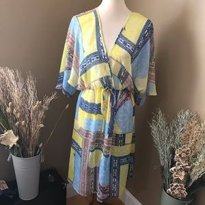 KUT From the Kloth Sheer Faux Wrap Yellow Dress